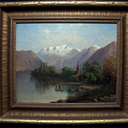 19th c. Mountainous Lake Painting w/ Figures