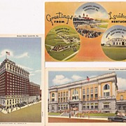 Louisville, Kentucky 3 Vintage Linen Era Postcards