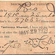 Vehicle Reg. Hackensack, New Jersey 1919