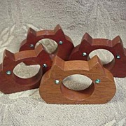 Teakwood Cat Napkin Rings Set