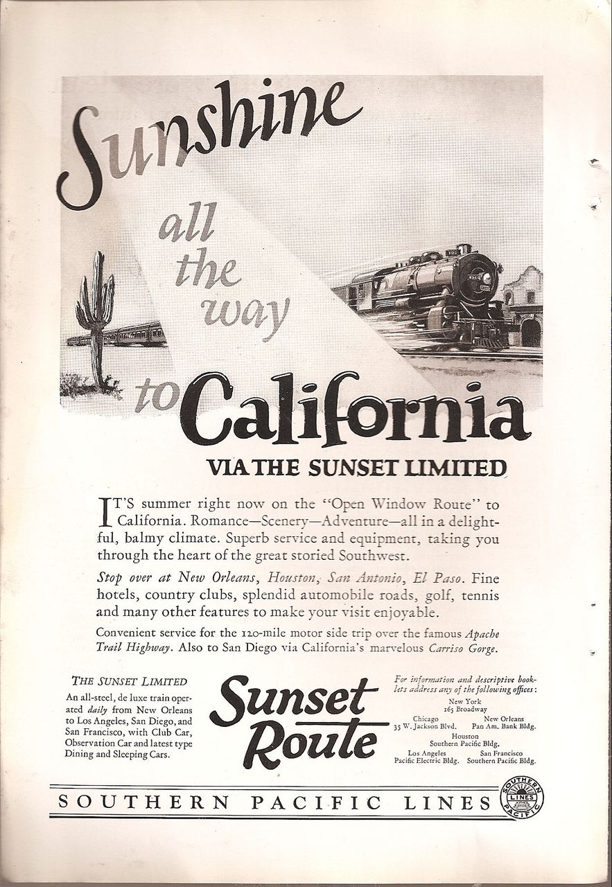 Southern Pacific Lines ~ Sunset Route Ad c.1925