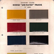 Dodge Truck Paint Color Sheet * 1949