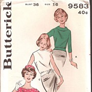 Butterick Ladies Pattern - Hip Band Blouse Size 16 1960's