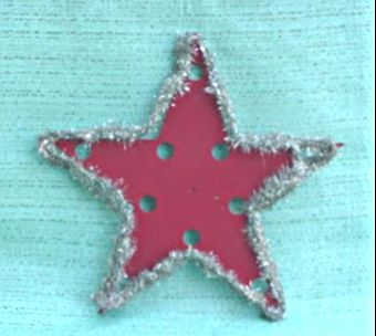 Red Christmas Home Made Star w/ Tinsel