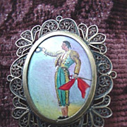 Matador * Bullfighter  Enameled Pin c.1920's