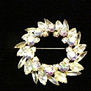 Lovely Rhinestone Round Pin c. 1950's Sparkle Plenty!