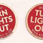 "Vintage "" Turn Lights Out "" Advertising Pulls * 1938"