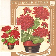 Meyercord Vintage Red Flowers Decals