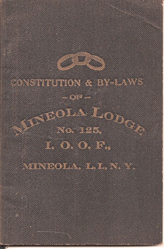 Mineola, N.Y. Odd Fellows Lodge No. 125 By-Laws 1921