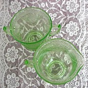 Lovebirds Green Depression Glass Creamer & Sugar