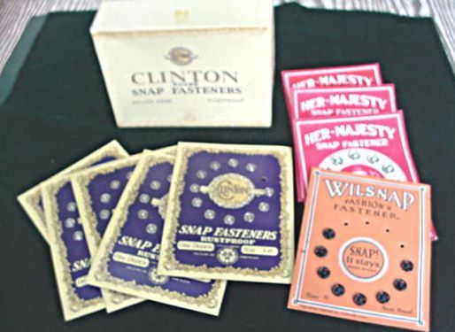 Vintage Snap Fasteners ~ on Cards w/ Original Box