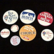 Beer Advertising Pin Back Buttons - 8 Assorted