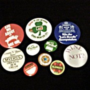 Beer * Soda  * Gin  Advertising Pin Back Buttons * 10 Assorted