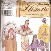 Simplicity Historic Native American Dress * Men's & Women's Patterns