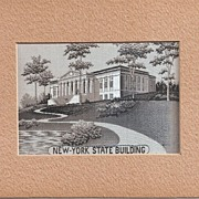 New York World's Fair * 1939 New York State Building Woven Silk