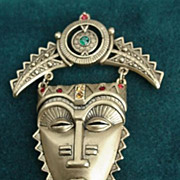 Inca Mayan Face Mask Dangle Pin
