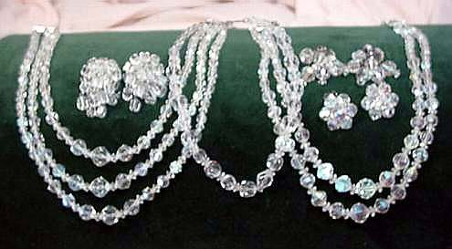 Vintage Crystal Necklace & Earrings * Sparkle Plenty!!