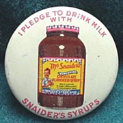 Snaider's Chocolate Syrup Pin Back Button c. 1940's