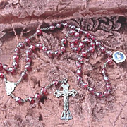 Vintage Crystal Rosary  w/ Ruby Red Beads