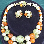 Double Strand Necklace and Earrings Set - Multicolor Beads