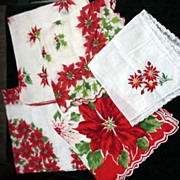 Poinsettia Design Ladies Hankies - 5