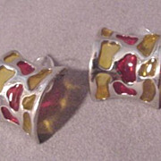 Stained Glass Design Earrings # 4