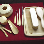 Celluloid Dresser Pieces ~ Tray, Hair Receiver, etc..