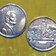 Gettysburg, Pa Eternal Light Monument Lincoln Tokens