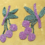 Beaded Trim Pieces - Cherry Berry c.1940's