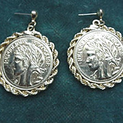 Pair of French Coin Pierced Earrings