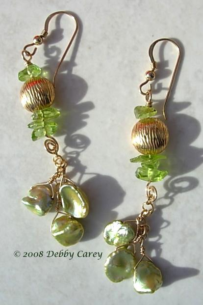 Peridot, Gold Vermeil & Peridot Keishi Freshwater Pearl Earrings