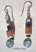 Copper Glazed Ceramic, Malachite, Lapis Lazuli, Coral & Hill Tribe Silver Earrings