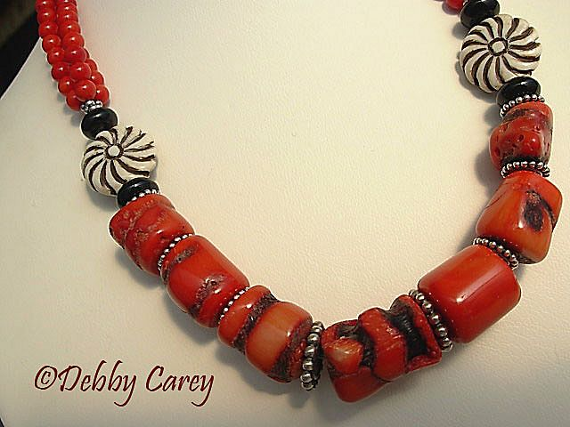 Red Sponge Coral, Carved Bone, Black Onyx & Bali Sterling Silver Necklace