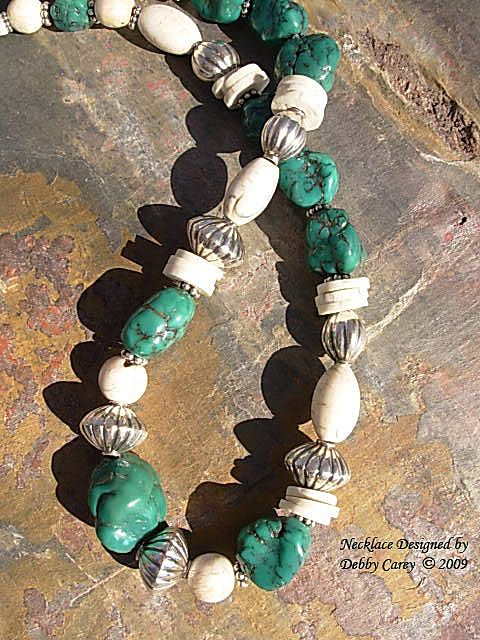 Dark Green Arizona Turquoise, Naga Conch Shell & Bali Sterling Silver Necklace