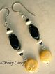 Black Onyx, Bone, Freshwater Pearls & Sterling Silver Earrings