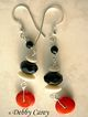 Black Onyx, Red Coral, Bone & Sterling Silver Earrings