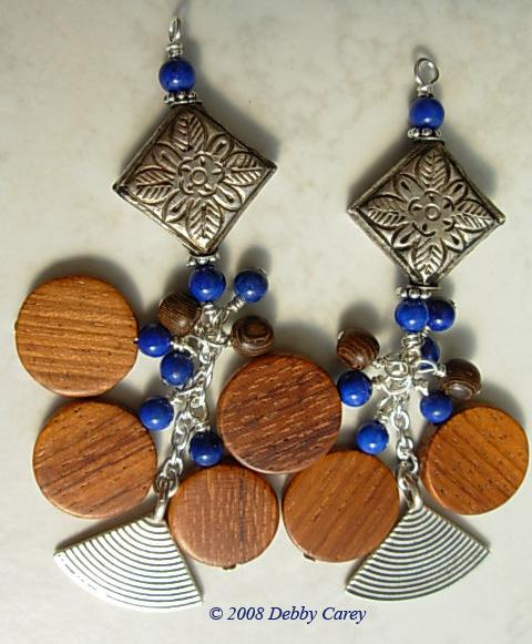 Prakeuam & Thai Karen Silver, Bayong Wood & Lapis Lazuli Earrings