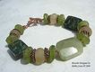 Beryl, African Powdered Glass, Lampwork, Ruby Fuschite & Copper Bracelet