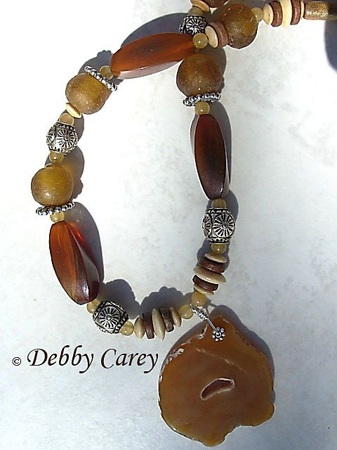 Golden Agate, Horn, Bone, Powdered Glass & Thai Silver Necklace