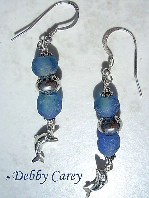 African Powdered Glass & Bali Sterling Silver Earrings