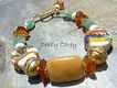 Lampwork, Yellow Jasper, Green Kyanite, Baltic Amber, Bone & 24K Gold Vermeil Bracelet