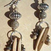 SOLD Fossil Coral, Sterling Silver & Coconut Earrings