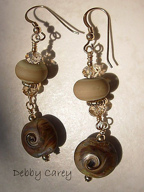 Lampwork, Swarovski & 14K Gold Fill Earrings