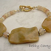Yellow Jasper, Natural Jade Bracelet & 14K Gold Fill Bracelet
