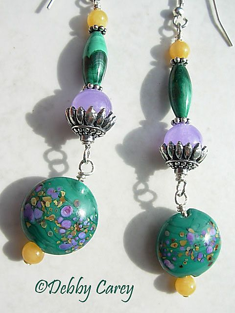 Lampwork, Malachite, Yellow Aventurine, Burmese Lavender Jade, & Bali Sterling Silver Earrings