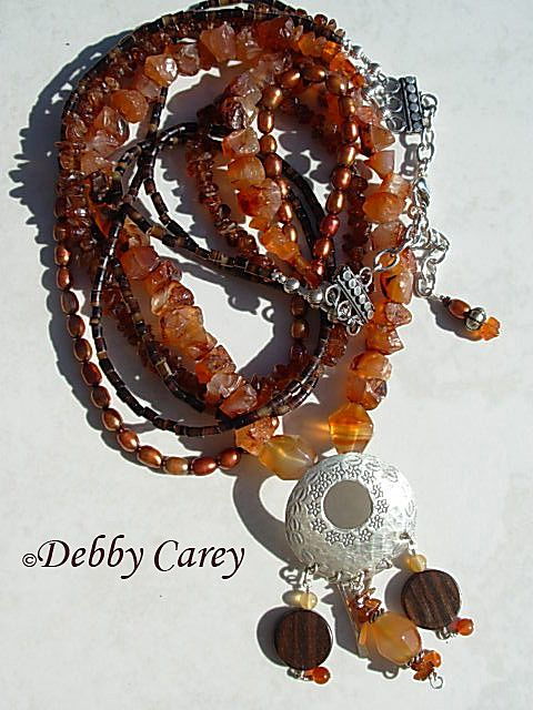 Carnelian, Hessonite Garnet, Freshwater Pearls, Heishi, Wood & Thai Karen Silver Necklace