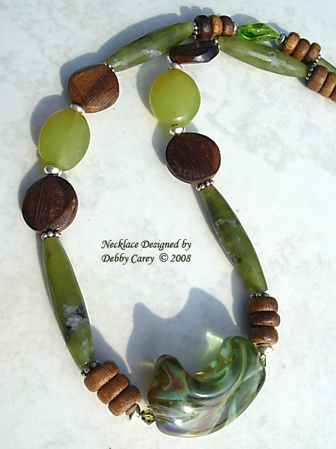 Lampwork, Serpentine, Chalcedony, Wood & Sterling Silver Necklace
