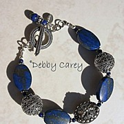 SOLD Lapis Lazuli and Bali Sterling Silver Bracelet