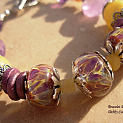 Lampwork, Greek Ceramic, Yellow Calcite, Amethyst & Sterling Silver Bracelet
