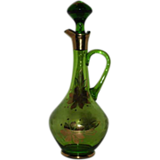 Gold Emerald green glass decanter with stopper